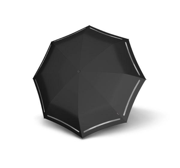Unisex skėtis Knirps T200 Duomatic, juodas su atšvaitais, išskleistas