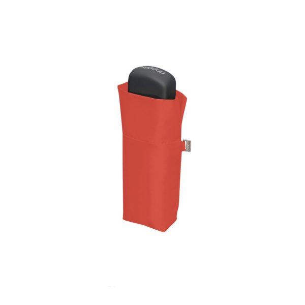Moteriškas skėtis Doppler Fiber Handy Uni, šviesiai raudona, suskleistas