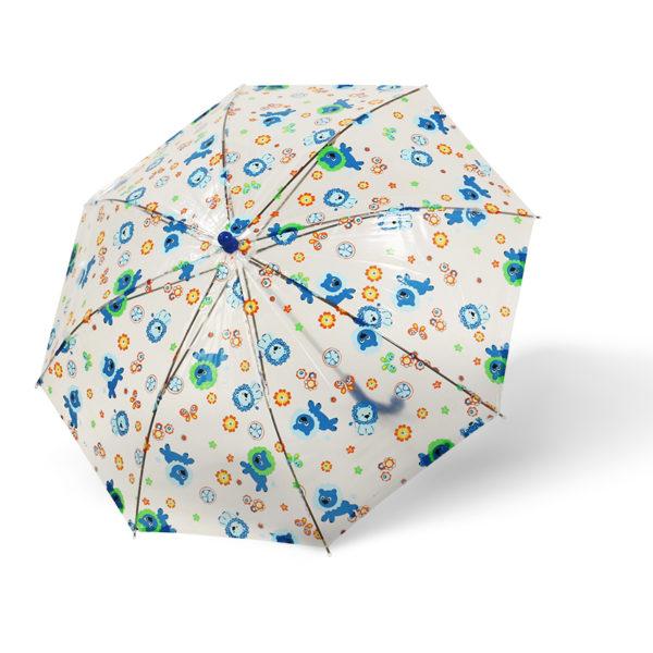 Vaikiškas skėtis Doppler Kids Sky, skaidrus, su mėlyna, išskleistas