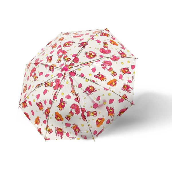 Vaikiškas skėtis Doppler Kids Sky, skaidrus su raudona, išskleistas