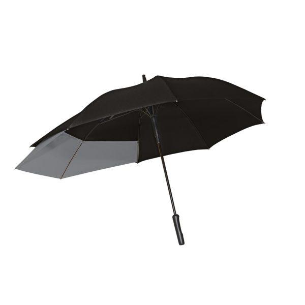 Unisex skėtis Doppler Fiber Move, juoda ir pilka, išskleistas