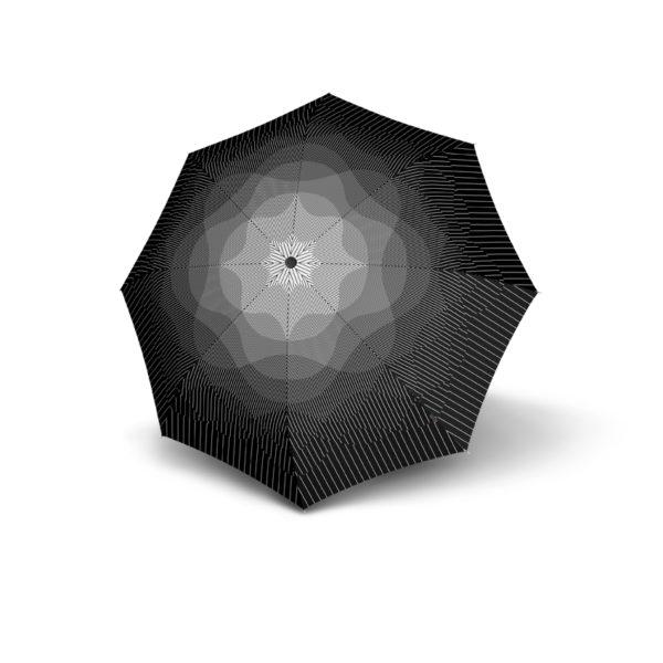 Moteriškas skėtis Knirps T200 Duomatic NUNO design Fog išskleistas