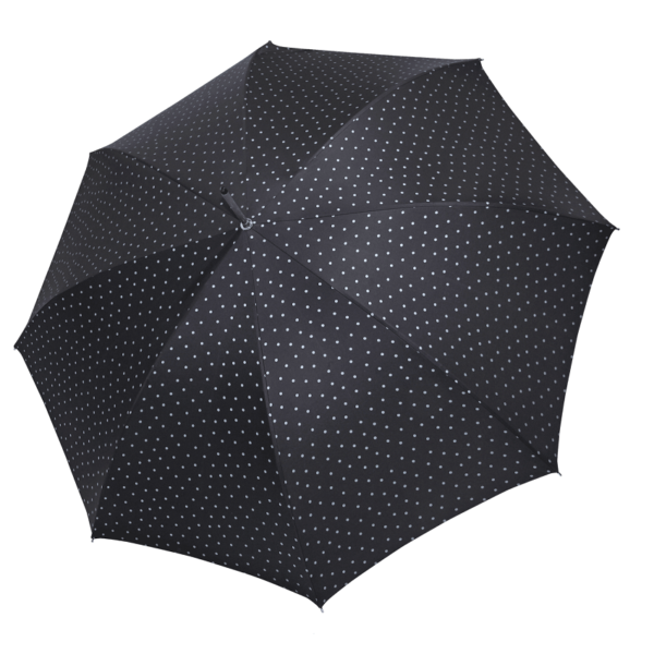 Moteriškas rankų darbo skėtis Doppler Manufaktur Elegance Cottage juoda atidarytas
