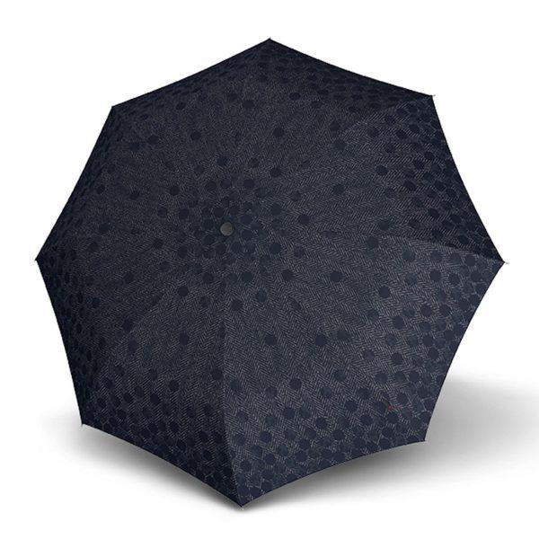 Moteriškas skėtis Knirps T200 Duomatic Shirley Blue atidarytas