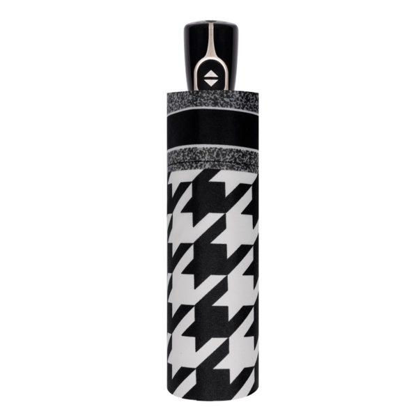 Moteriškas skėtis Doppler Fiber Magic Black&White suskleistas
