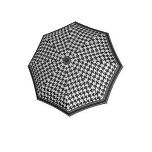 Moteriškas skėtis Doppler Fiber Magic Black&White išskleistas