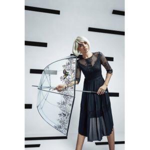 Moteriškas skaidrus skėtis Knirps Transparent Neptun peršviečiamas skėtis su modeliu