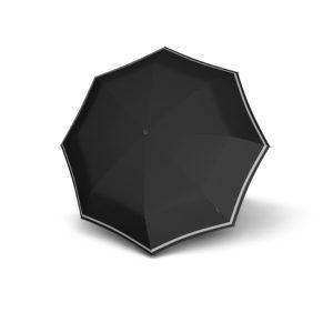 Unisex skėtis Knirps T200 Duomatic Reflective Rain juodas su atšvaitais atidarytas